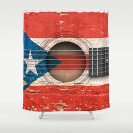 Old Vintage Acoustic Guitar with Puerto Rican Flag Shower Curtain