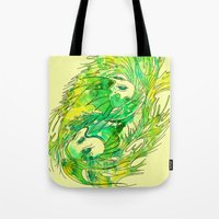 pisces Tote Bags featuring pisces by Steven Toang