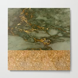 Green Marble with Gold and Glitter Metal Print