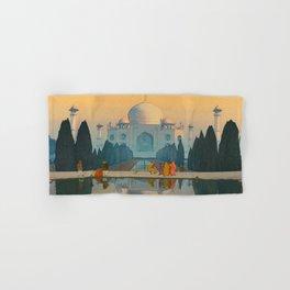 Morning Mist in Taj Mahal Vintage Beautiful Japanese Woodblock Print Hiroshi Yoshida Hand & Bath Towel