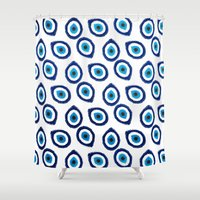 evil eye Shower Curtains featuring Evil Eye Teardrop by Katayoon Photography