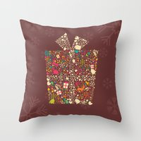 gift card Throw Pillows featuring Christmas Gift 01 by BlueLela