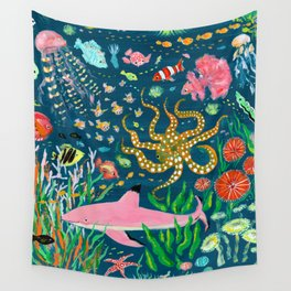 Pink Shark Wall Tapestry
