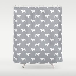 English Bulldog pattern grey and white minimal modern dog art bulldogs silhouette Shower Curtain