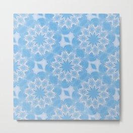 Blue & White Seamless Kaleidoscope Metal Print