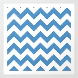 light blue chevron pattern Art Print
