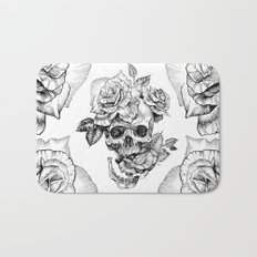 Black and White skull with roses pen drawing Bath Mat