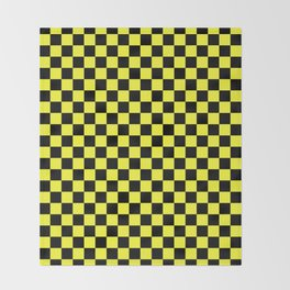 Black and Electric Yellow Checkerboard Throw Blanket