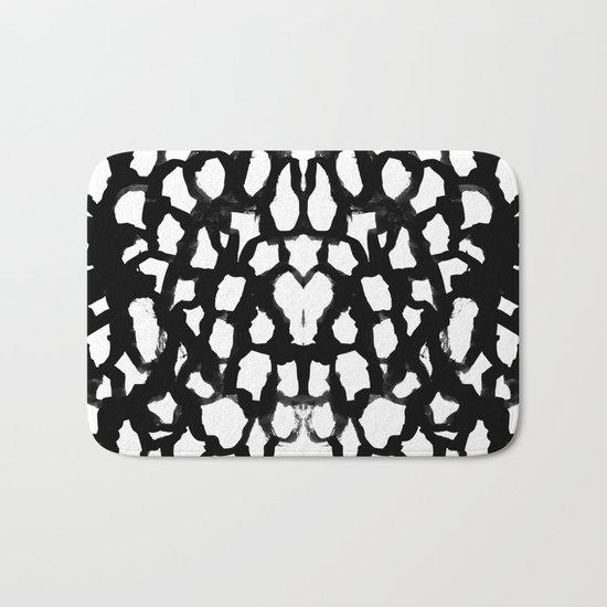 Rosanthe - modern minimal black and white painting brushstrokes free spirit boho urban city pattern Bath Mat