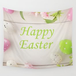 Happy Easter Farmhouse Style Eggs and Whitewashed Boards with Flowers Wall Tapestry