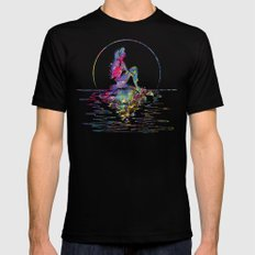 The Little Mermaid Ariel Silhouette Watercolor Mens Fitted Tee Black LARGE