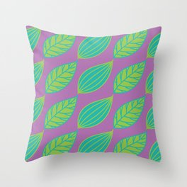 Bright Leaves on Purple Throw Pillow