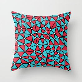 African Triangles Red and Blue Throw Pillow