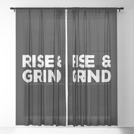 Rise & Grind Gym Quote Sheer Curtain