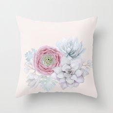 My mexican pastel pink succulent garden Throw Pillow