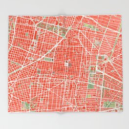 Mexico city map classic Throw Blanket