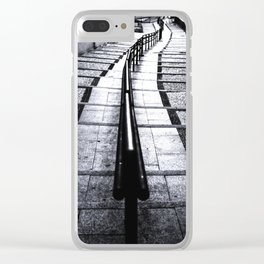 lines and stairs in black and white Clear iPhone Case