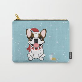 French Bulldog Waiting for Santa- Fawn Pied Edition Carry-All Pouch