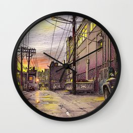 Industrial alley at the sunset Wall Clock