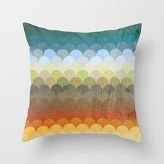 Half Circles Waves Color (2013) Throw Pillow
