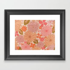 Retro Floral Sheets pink Framed Art Print