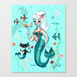 Martini Mermaid Platinum Blonde Canvas Print