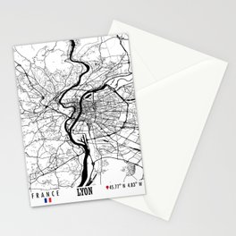Lyon, France Road Map Art - Earth Tones Stationery Cards