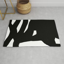 Black Maze Black & White Minimalist Ink Tribal Mid Century Pattern Dark Painting Pattern Rug