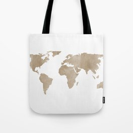 World Map - Beige Watercolor Minimal on White Tote Bag