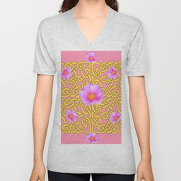 Decorative Yellow Celtic Pattern Pink-Coral  Rose Art Unisex V-Neck