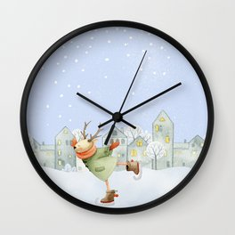 Merry christmas- Ice skating Deer and squirrel are having Winter fun Wall Clock