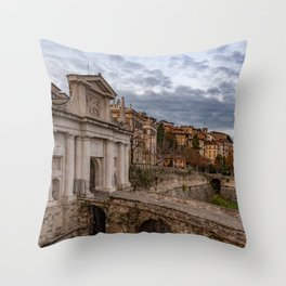 Side view of Porta San Giacomo and the walls of the upper city of Bergamo Throw Pillow
