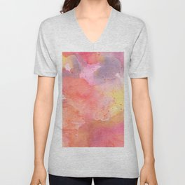 Sunset Color Palette Abstract Watercolor Painting Unisex V-Neck