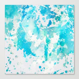 Hand painted aqua teal white watercolor splatters Canvas Print