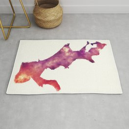 New Orleans Louisiana city watercolor map in front of a white background Rug