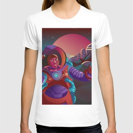 red suit astronaut on planet base T-shirt
