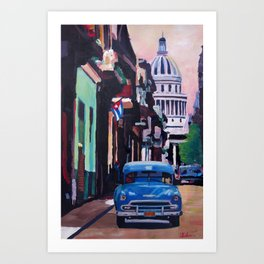 Cuban Oldtimer Street Scene in Havanna Cuba with Buena Vista Feeling Art Print