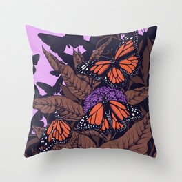 monarchs and milkweed Throw Pillow