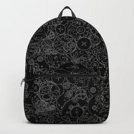 Clockwork B&W inverted / Cogs and clockwork parts lineart pattern Backpack