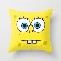 spongebob Throw Pillows featuring Spongebob Surprised Face by Cute Cute Cute