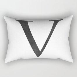 Letter V Initial Monogram Black and White Rectangular Pillow