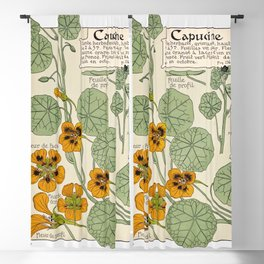 Maurice Verneuil - Capucine - botanical poster Blackout Curtain
