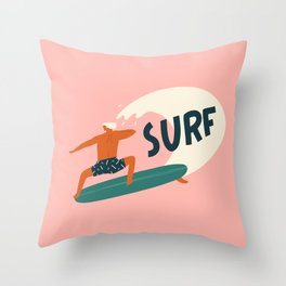 Let's surf Throw Pillow