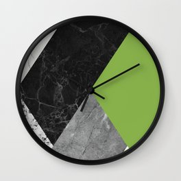 Black and White Marbles and Pantone Greenery Color Wall Clock