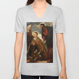 """Tintoretto (Jacopo Robusti) """"Virgin with Child and Saints"""" Unisex V-Neck"""