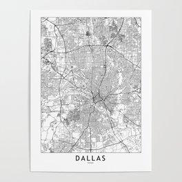 Dallas White Map Poster