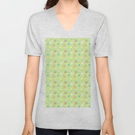 Colorful bunnies on green background Unisex V-Neck