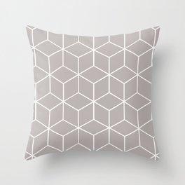 Cube Geometric 03 Grey Throw Pillow