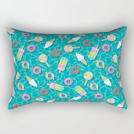Sweet Treat Pool Floats Pattern – Turquoise Rectangular Pillow