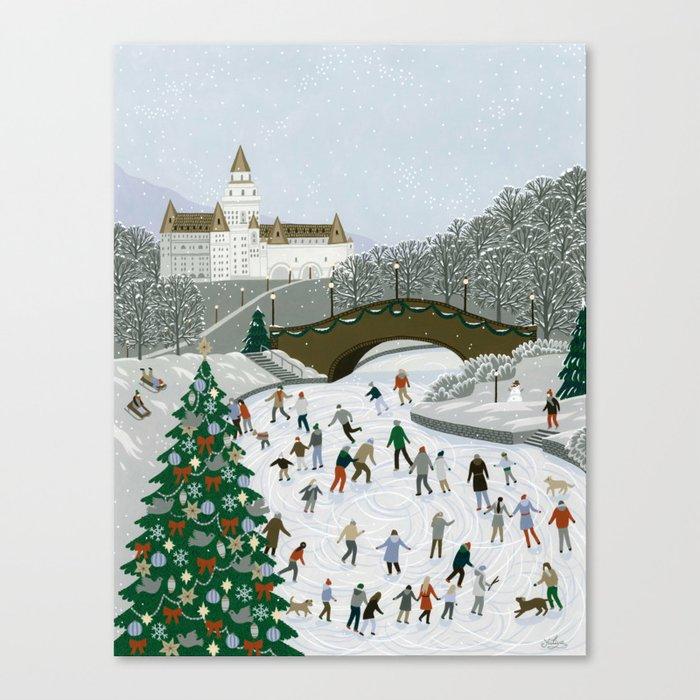 Ice skating pond Canvas Print